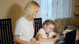 女孩,女人,家庭作业,家庭,技术,现代,小的,堆,儿童,童年