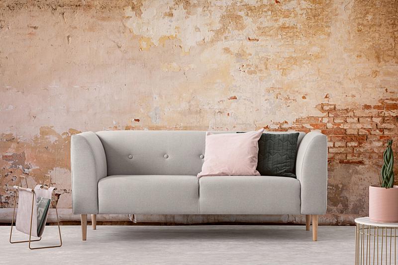 沙发,凌乱,起居室,新的,古老的,粉色,室内,枕头,墙,黑色
