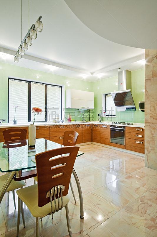 现代,室内,厨房,垂直画幅,新的,无人,椅子,玻璃,家庭生活,天花板