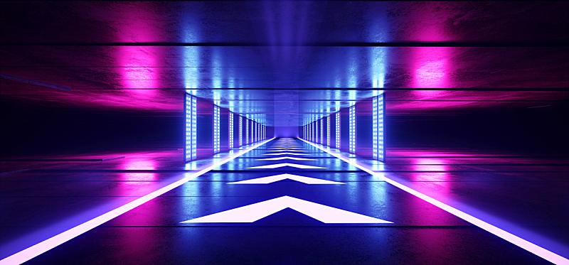 空的,隧道,走廊,三维图形,未来,霓虹灯,紫色,激光,蓝色,黑色