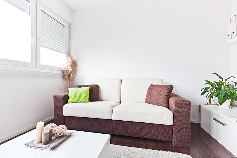 褐色,纺织品,沙发,白色,起居室,新的,座位,水平画幅,无人,家具