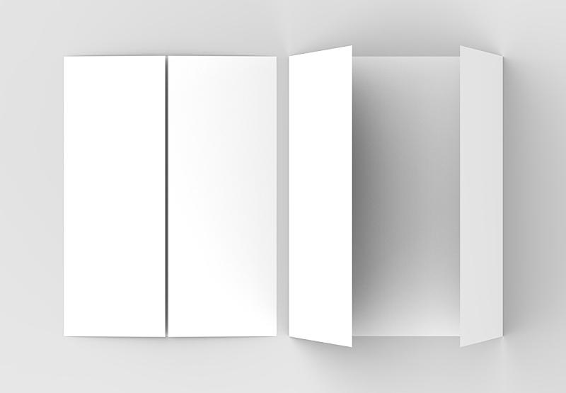 小册子,大门,柔和,三维图形,灰色背景,分离着色,垂直画幅,折叠的,轻蔑的,重复