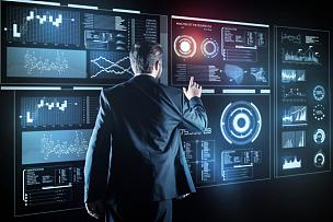 智慧,透明,显示器,未来,半身像,安全,男性,青年人,程序员,专业人员