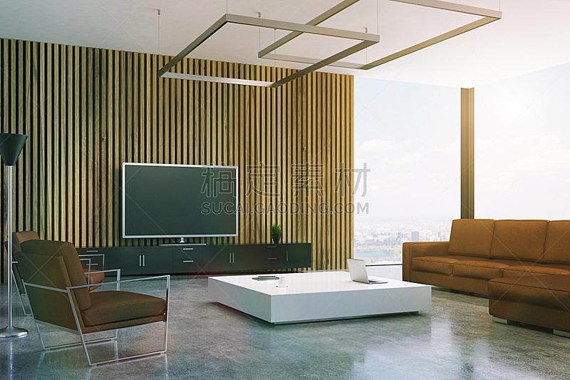 起居室,褐色,电视机,单色图片,复式楼,水平画幅,墙,无人,家具,俄罗斯