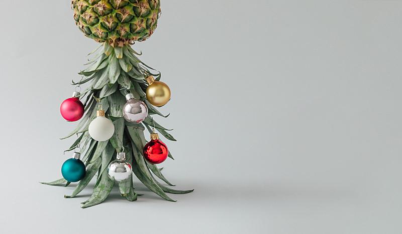 圣诞树,菠萝,节日,概念,圣诞球,新的,艺术,水平画幅,绘画插图