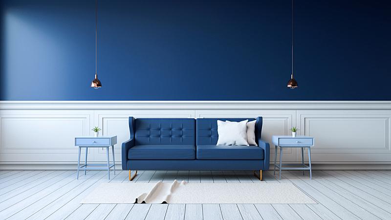 三维图形,室内,明亮,蓝色,卧室,沙发,新的,水平画幅,无人,椅子