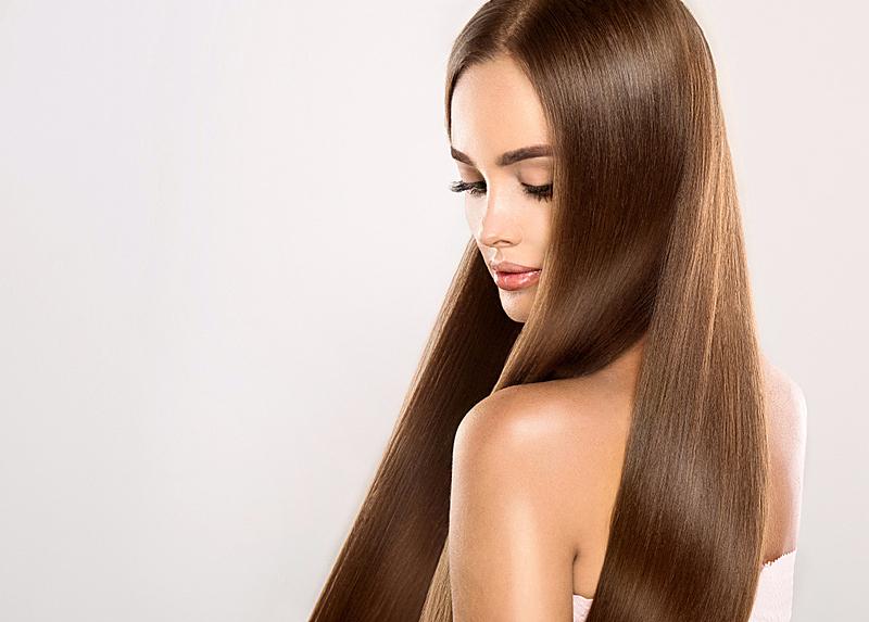 闪亮的,时装模特,长发,直发,青年人,直的,头发,棕色头发,香波