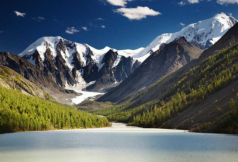 湖,山,自然,水平画幅,岩石,雪,无人,蓝色,夏天,户外