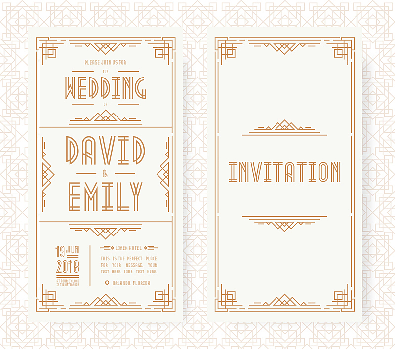 art deco风格,请柬,边框,婚礼,白色背景,金色,档案,绘画插图,古老的,计算机制图