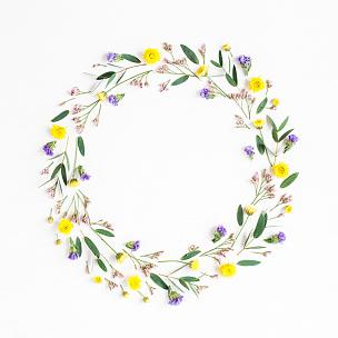 桉树,花环,叶子,黄色,平铺,野花,爱沙尼亚,野生植物,花,做