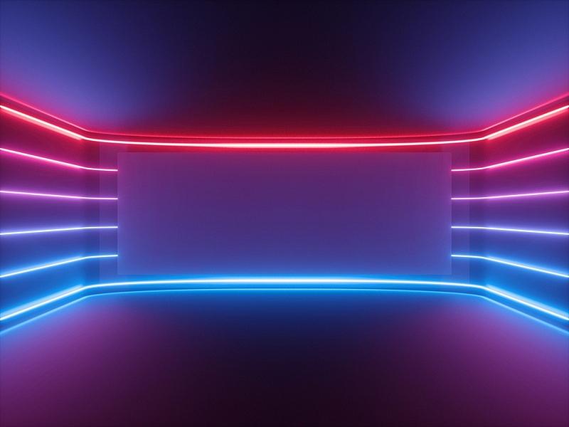 光谱色,红色,水平画幅,空的,背景,霓虹灯,空白的,蓝色,抽象,发光