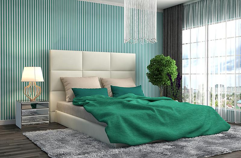 卧室,室内,三维图形,绘画插图,水平画幅,无人,家庭生活,地毯,家具,现代