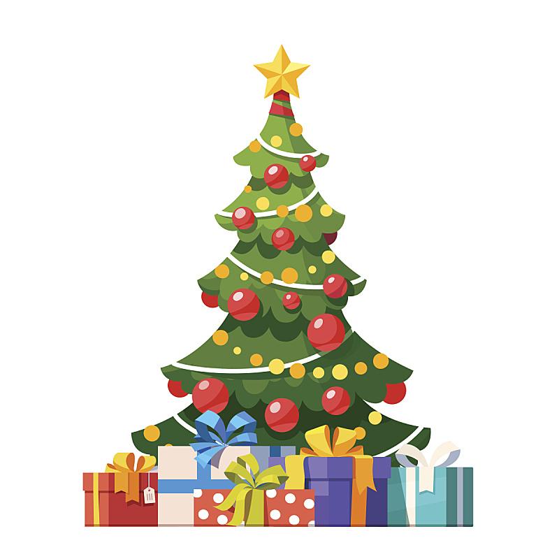 圣诞树,华丽的,大量物体,包装纸,杉树,在下面,新年,礼物,平坦的,云杉