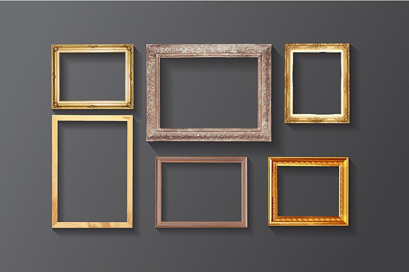 边框,木制,绘画艺术品,简单,相框,黄金,金色,墙,古董,艺术