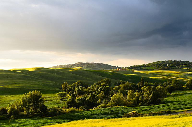 皮恩札,风景,美,水平画幅,山,无人,古老的,早晨,户外,城镇