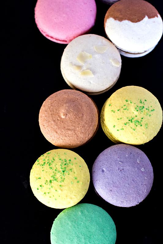 蛋白杏仁饼,通心粉,可爱的,蛋糕,彩色背景,法国,多样,食品,爱,叠