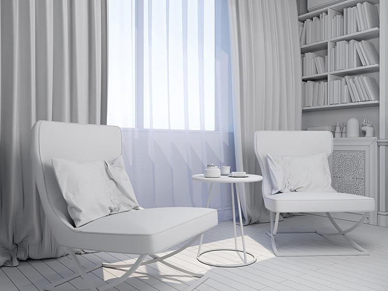 起居室,三维图形,室内设计师,水平画幅,绘画插图,灯,家具,现代,沙发,放松