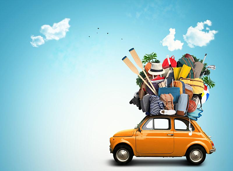 行李,大量物体,手提箱,旅途,幽默,夏天,汽车,堆,家庭,车站