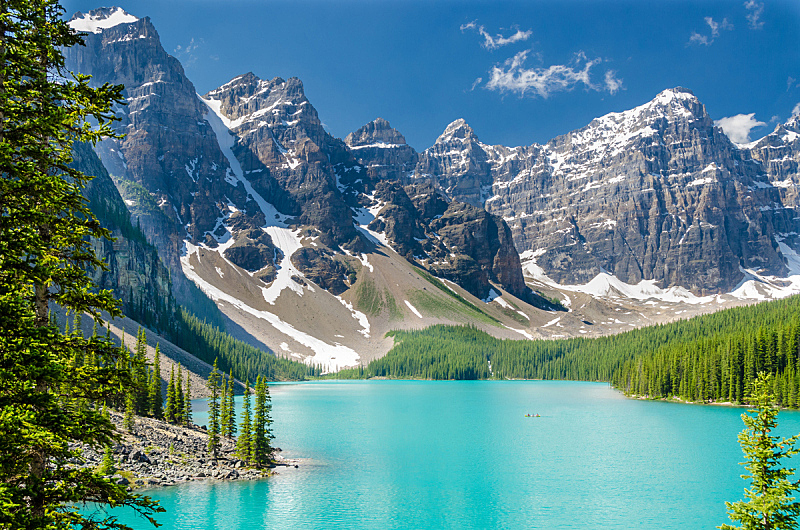 梦莲湖,加拿大落基山脉,十峰谷,洛矶山脉,水平画幅,雪,阿尔伯塔省,无人,户外,湖