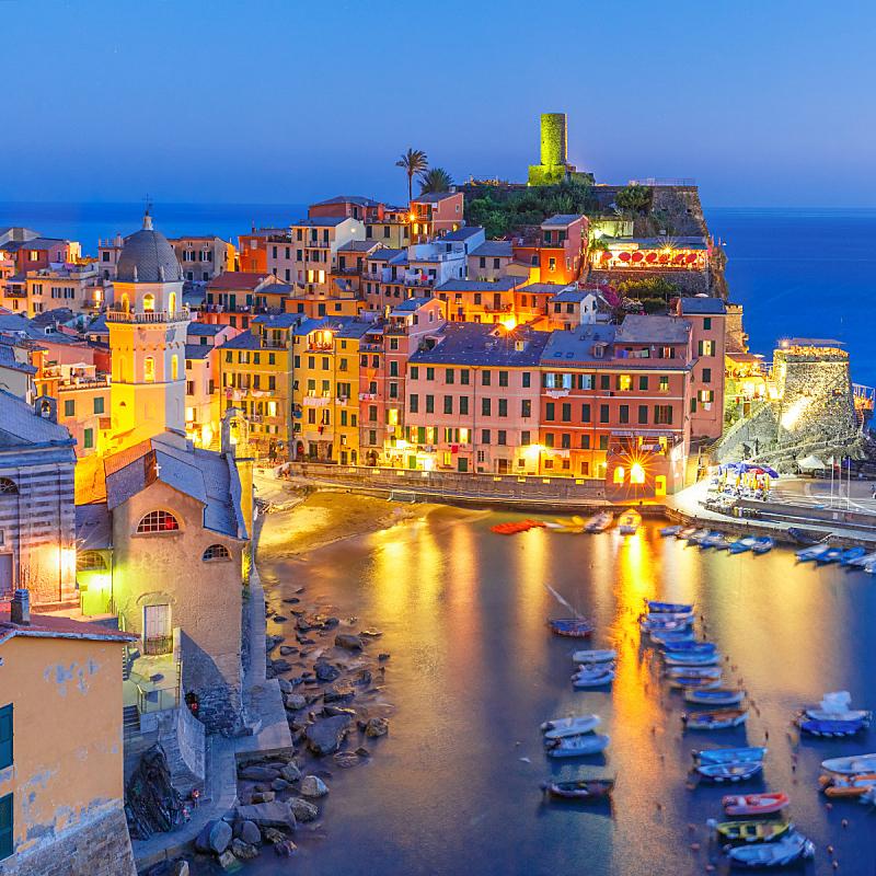夜晚,维纳扎,利古里亚大区,意大利,五渔村,公园,无人,曙暮光,户外