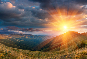 地形,秋天,全景,山脉,宏伟,天空,水平画幅,云,山,无人