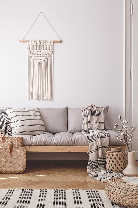 沙发,起居室,亚麻布,白色,自然,条纹,室内,枕头,米色,墙