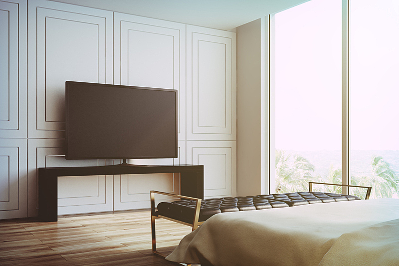 White living room, TV set side view toned