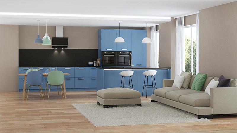 现代,三维图形,蓝色,房屋,室内,厨房,水平画幅,无人,椅子,家具