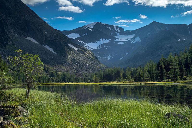 湖,阿尔泰山脉,俄罗斯,天空,美,公园,水平画幅,无人,风险,夏天