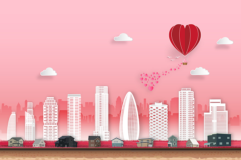天空,情人节,绘画插图,都市风景,矢量,快乐,时尚,红色,概念,婚礼