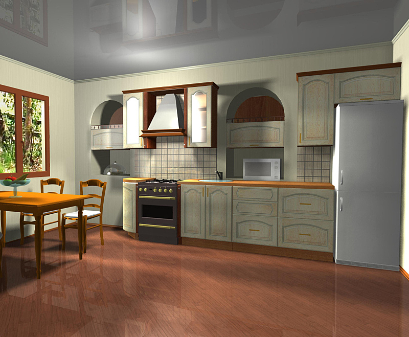 三维图形,厨房,室内设计师,高雅,桶圆屋顶,厨房水槽,火炉,褐色,水平画幅,墙