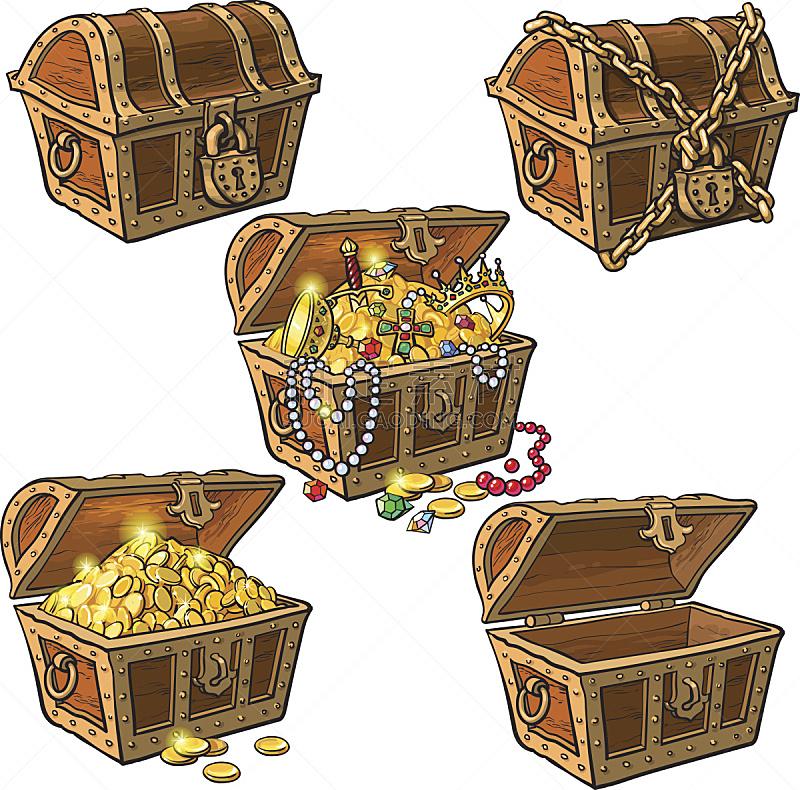 百宝箱,海盗,动物手,胸部,树干,关闭的,贵重宝石,珠宝,公文包,图标集
