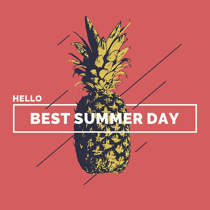 菠萝,夏天,白昼,现代,极简构图,你好,蒙太奇,合成图像,痕迹