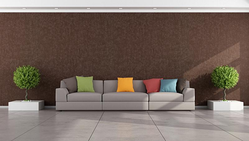 起居室,极简构图,褐色,水泥地,白灰泥,水平画幅,墙,无人,家具,现代