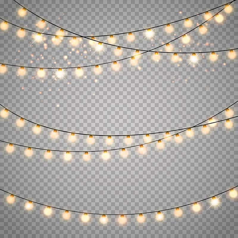 矢量,圣诞小彩灯,透明,背景,分离着色,花环,贺卡,新的,边框