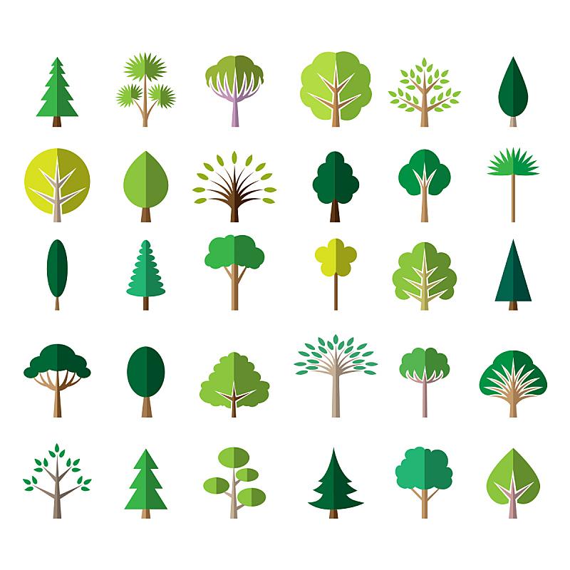 绿色,平坦的,计算机图标,绘画插图,夏天,计算机制图,计算机图形学,现代,模板,白色