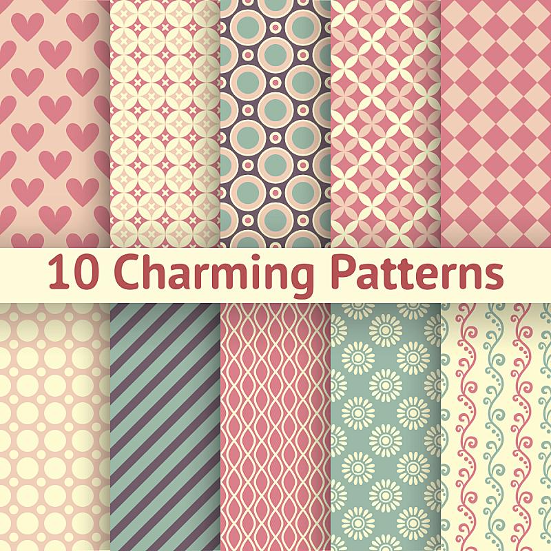 浪漫,矢量,式样,瓷砖,个性,女性特质,四方连续纹样,剪贴本,可爱的,花纹