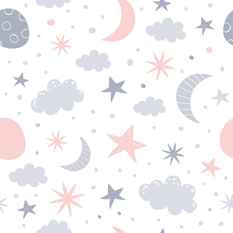 儿童房,式样,天空,贺卡,就寝时间,纺织品,云,夜晚,月亮,绘画插图