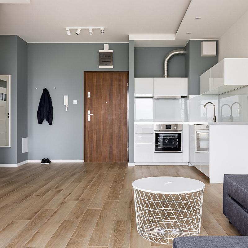 公寓,厨房,影棚拍摄,小的,新的,边框,无人,走廊,灯,家具
