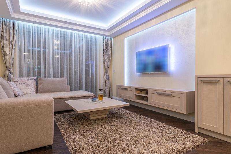 现代,房屋,室内,起居室,白色,新的,休闲活动,水平画幅,无人,皮革