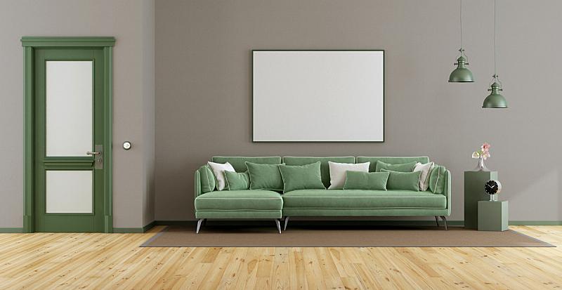 沙发,起居室,高雅,绿色,纺织品,照明设备,边框,软垫,地板,门
