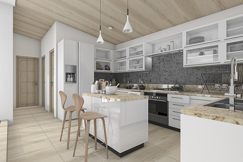 现代,灶台,木制,厨房,三维图形,尼斯,柜子,洗碗机,微波炉,复式楼