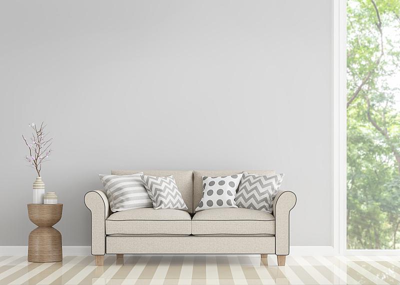 起居室,极简构图,图像,三维图形,纯净,热带树,豪华酒店,简单生活,住宅内部,图像技术