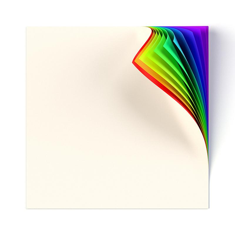 角落,书页,卷着的,方形画幅,彩虹,空白的,笔记本,轻蔑的,正下方视角,向后弯