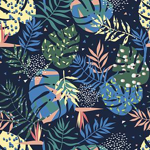 叶子,矢量,式样,色彩鲜艳,活力,鸡尾酒,纹理,绘画插图,热带雨林,夏天