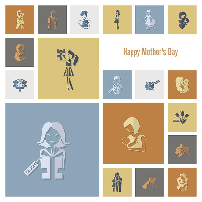 符号,母亲节,甜心,婴儿车,蝴蝶结,马轿,贺卡,郁金香,绘画插图,古典式