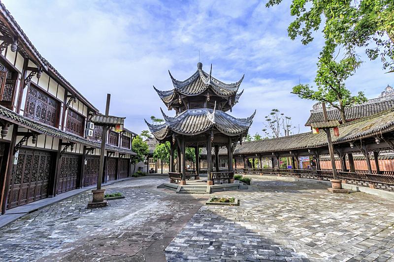 黄龙 ,四川省,城镇,远古的,山谷,客家族,成都,古代,水