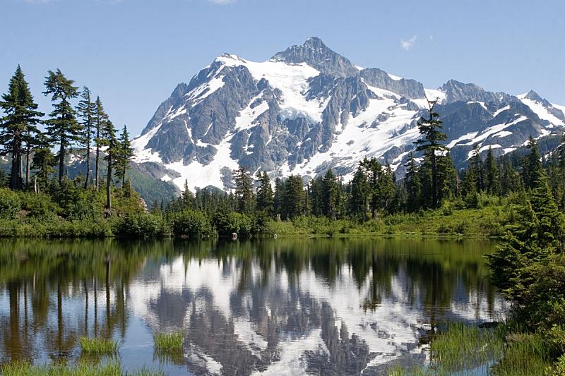 取景湖,舒克森山,mt baker-snoqualmie national forest,北喀斯开山脉,北小瀑布国家公园,自然,水平画幅,地形,雪,冰河