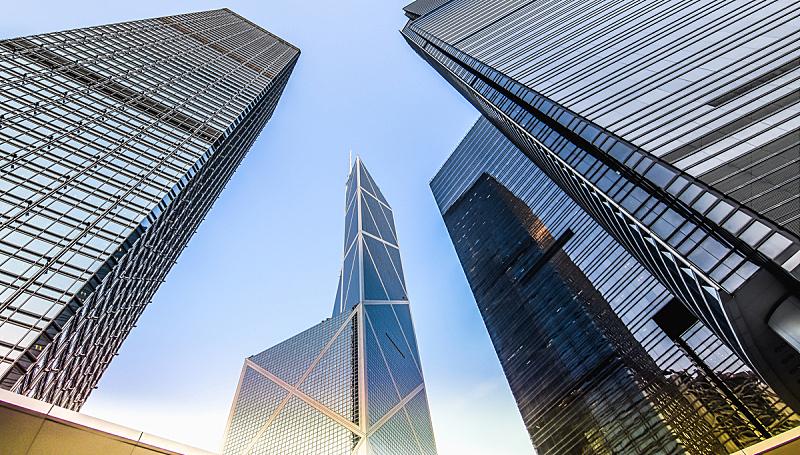 商务,建筑外部,低的,角度,办公室,天空,未来,外立面,水平画幅,银行