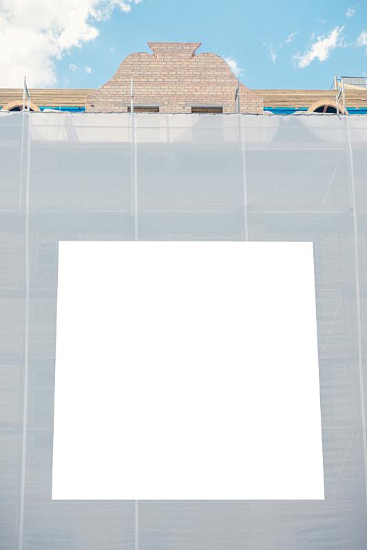户外,建筑工地,轻蔑的,信息标志,空白的,建筑业,正下方视角,垂直画幅,留白